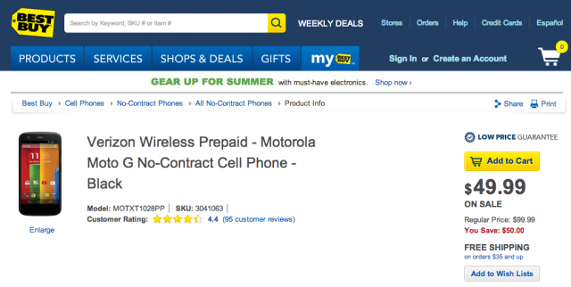 Motorola Moto G Best Buy listing