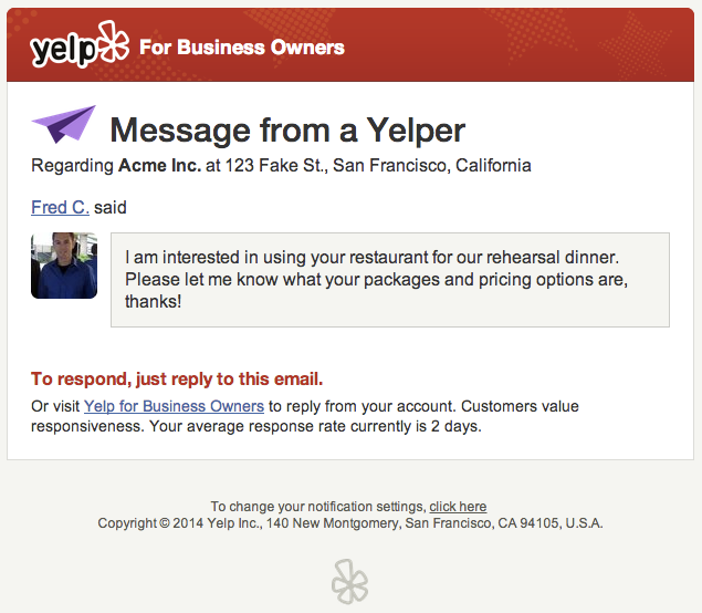 Yelp Business Message email screenshot