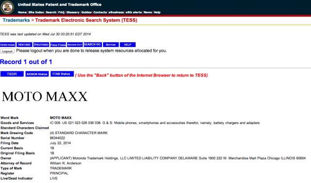 Motorola Moto Maxx trademark