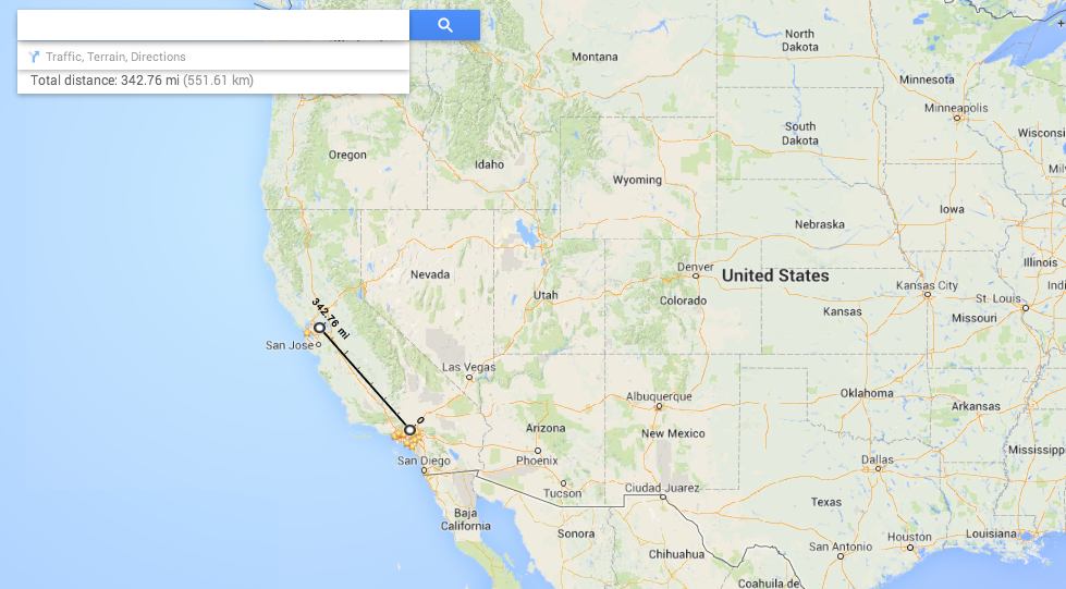 Google Maps Update Adds Distance Measurements - Google maps california