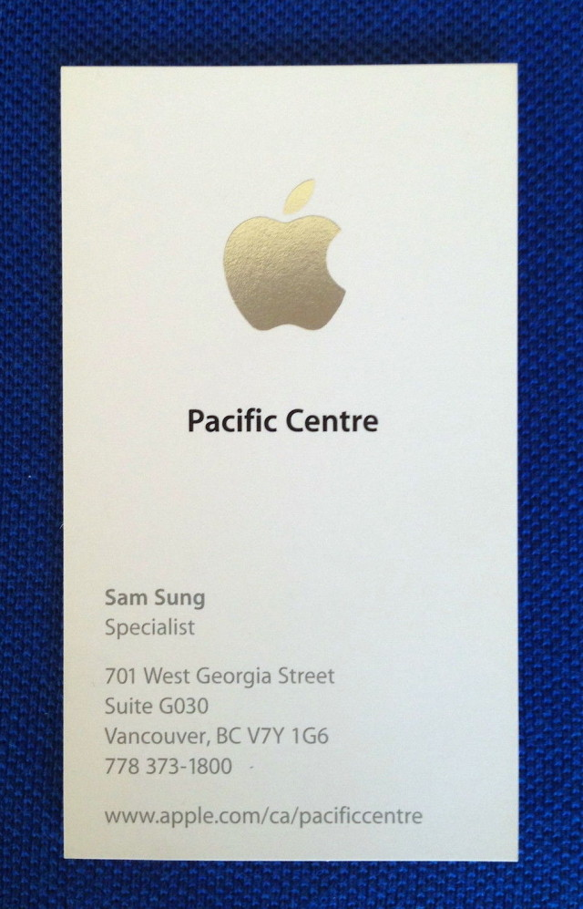 Former apple employee sam sung auctions off business card for charity apple specialist sam sung business card colourmoves