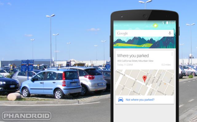 Google Now parked car