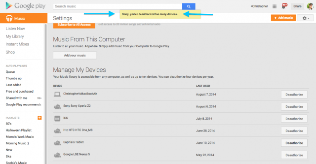 Google Play Music de-auth limit reinstated