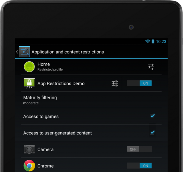 Jelly Bean 4.3 restricted profiles apps