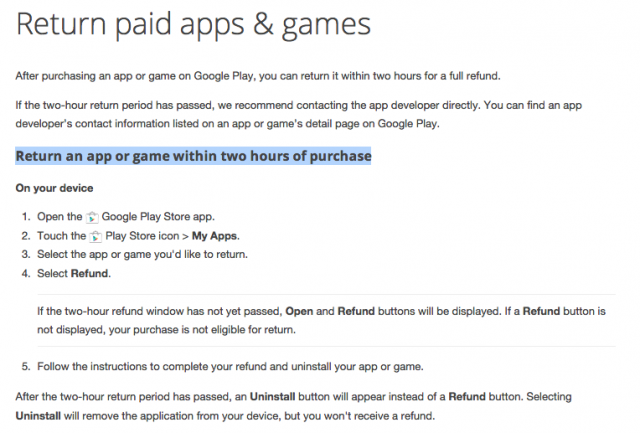 Google Play refund policy 2 hours