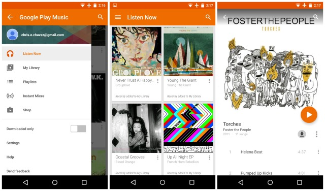 Google Play Music Lollipop leak