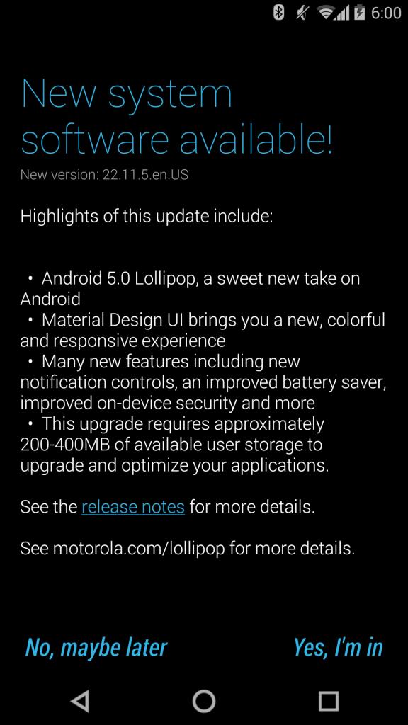 Moto X 2014 Android 5.0 Lollipop