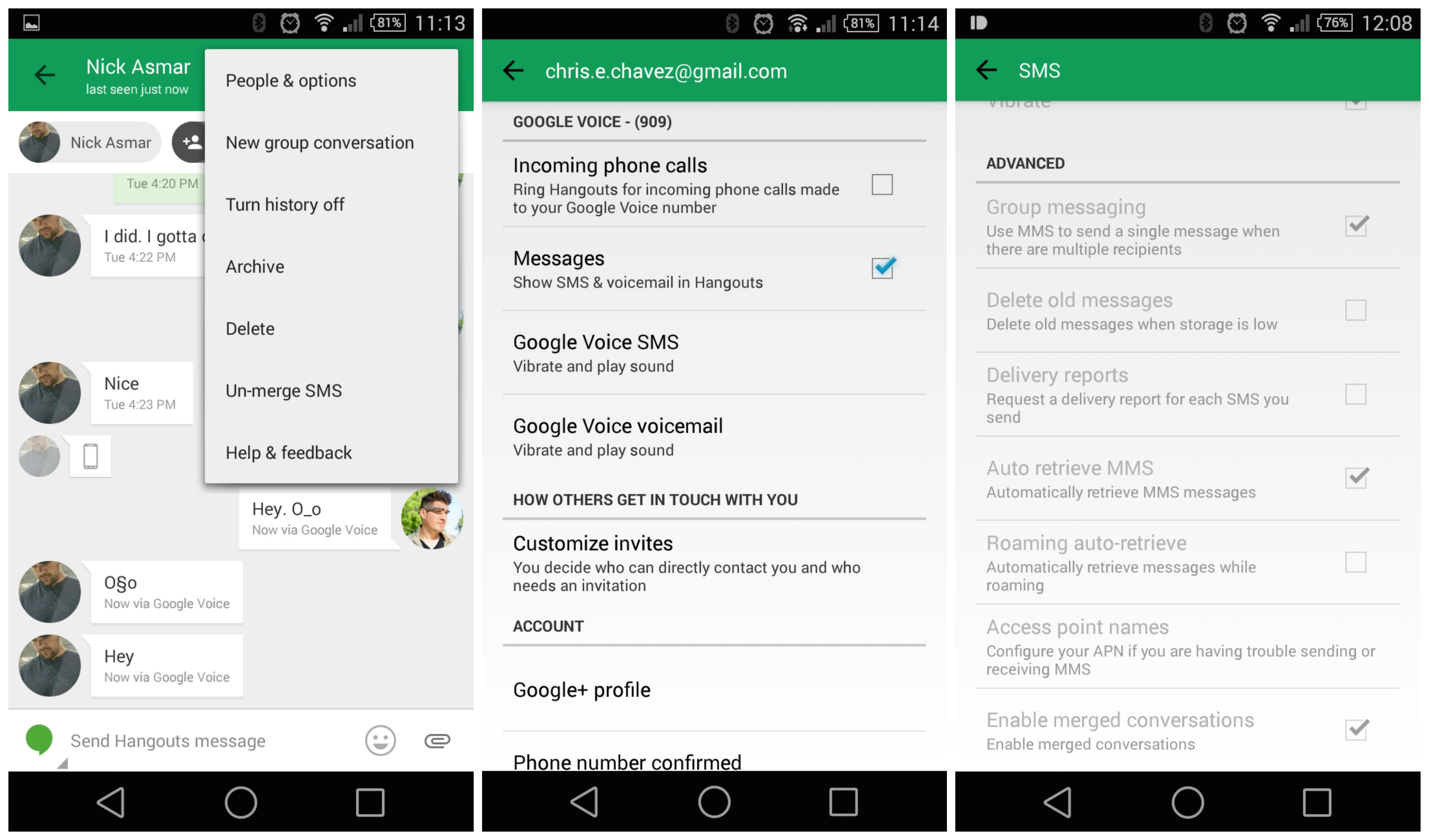 Switch between carrier or Google Voice numbers in Hangouts
