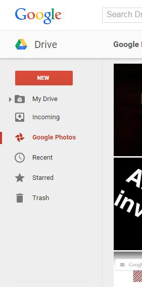 Google Photos tab Drive