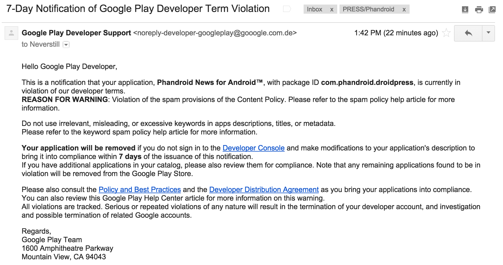 Android developers beware: fake Google Play violation email is a scam looking to steal your password