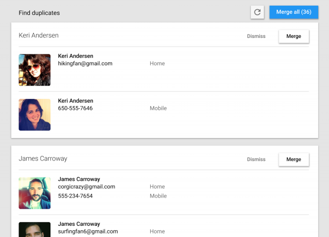 google contacts duplicates
