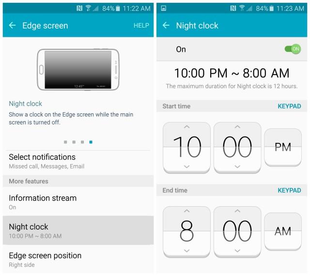 Samsung Galaxy S6 Edge screen night clock