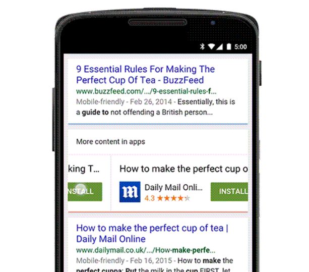 google app indexing apps result