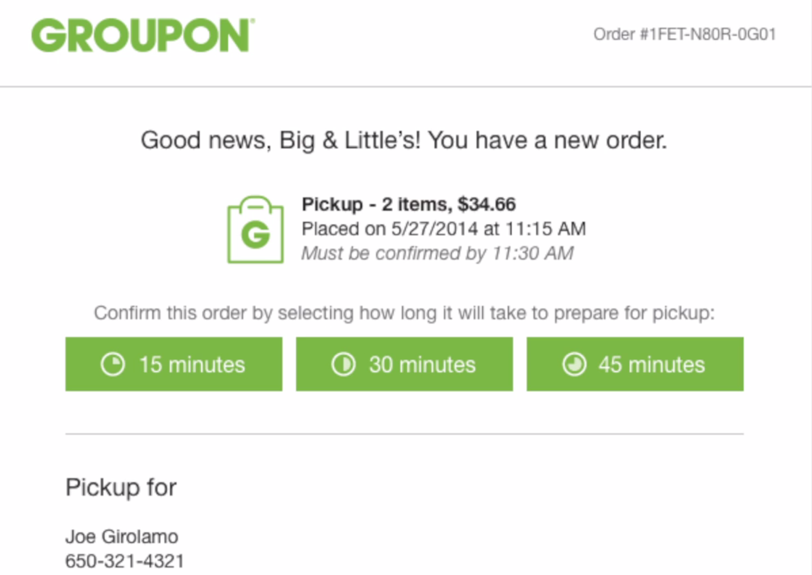 Groupon orders