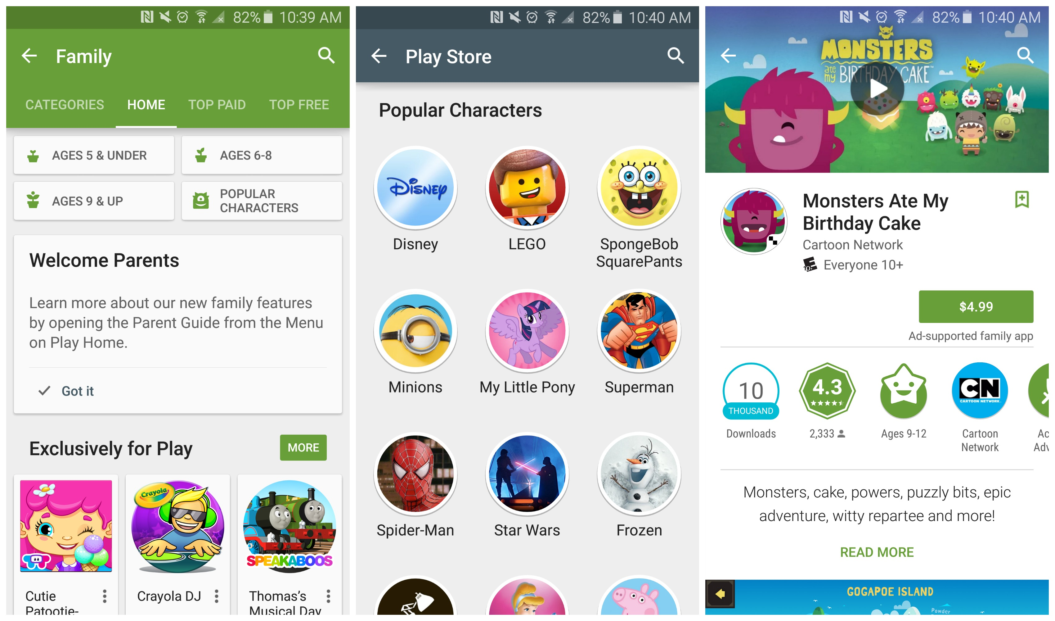 Google play family now live in the play store Play app