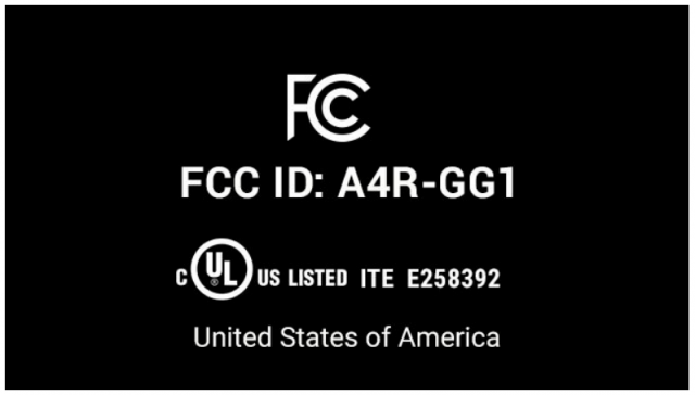 FCC ID A4R-GG1 e-label