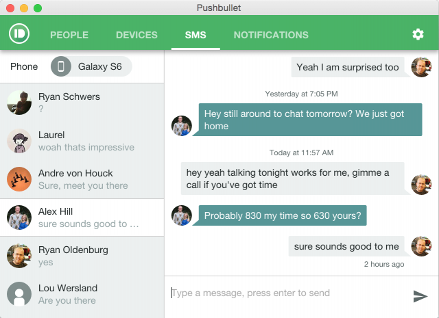 pushbullet sms pc