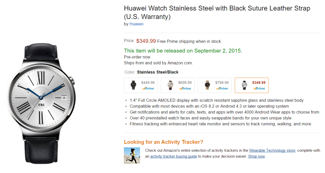Huawei Watch Appears On Amazon With 350 Price Tag And Sep 2nd Smart Stainless Steel Mesh Band Us Warranty