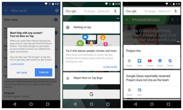 Google 5.3 update Now on Tap