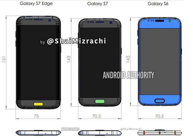 Samsung Galaxy S7 Edge dimensions vs S6