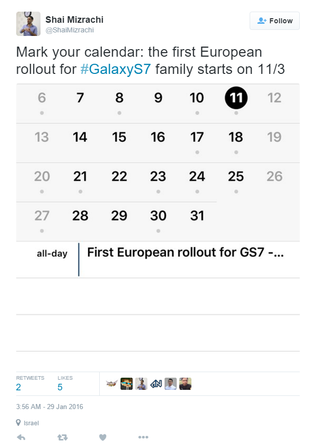 Shai Mizrachi on Twitter   Mark your calendar  the first European rollout for  GalaxyS7 family starts on 11 3 https   t.co TdhtJIJ2dD