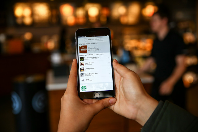 Spotify in the Starbucks app photographed on Fridday, January 8, 2015. (Joshua Trujillo, Starbucks)