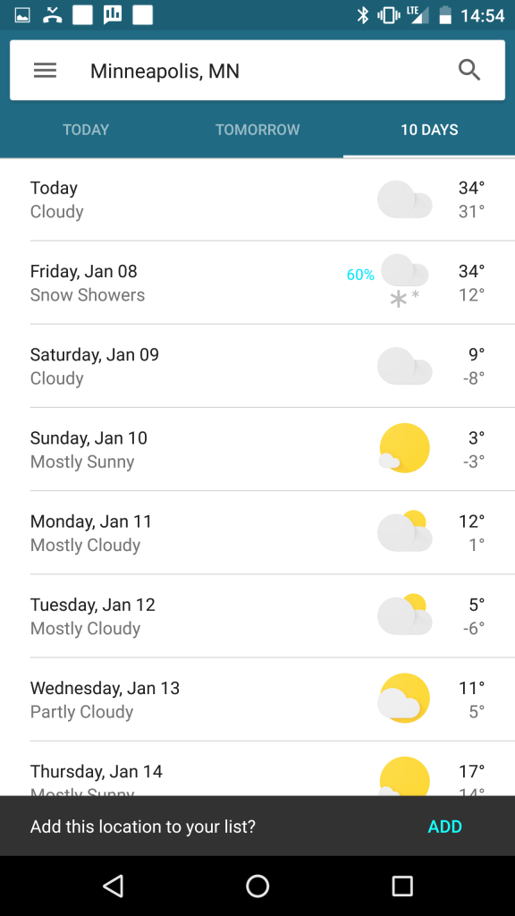 google now weather card 10 days