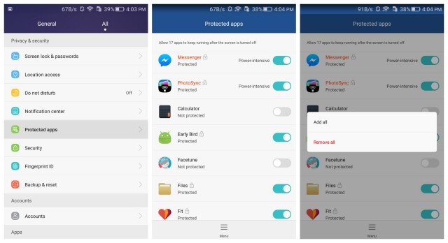 honor 5x protected apps