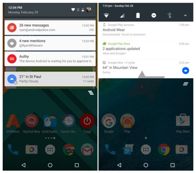 Android N notification shade mockup