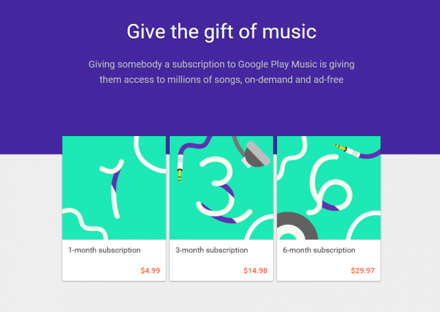 Google Play Music  Gifts