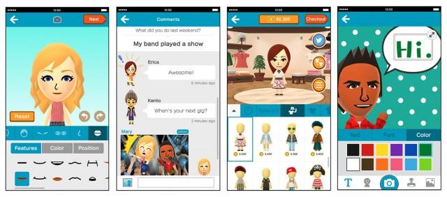Nintendo Miitomo app screenshots