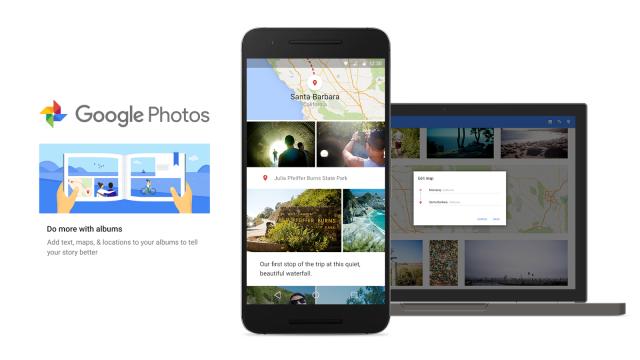 Google Photos Smarter Albums update maps pins captions