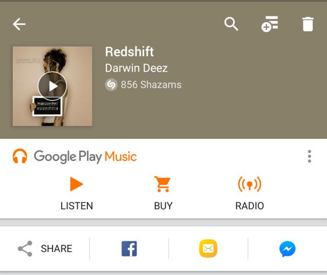 Shazam Google Play Music bar