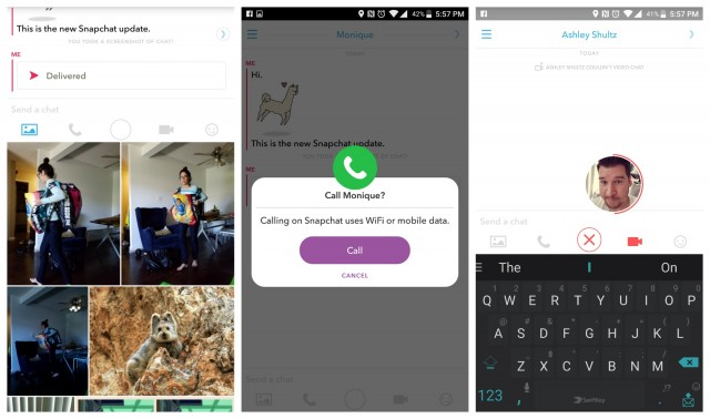 Snapchat Chat 2.0 update screenshots