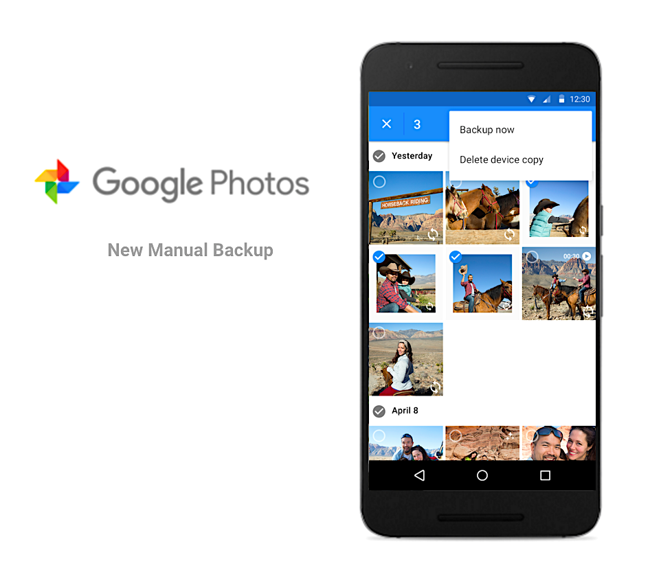 Google Photos update lets you manually choose photos to backup