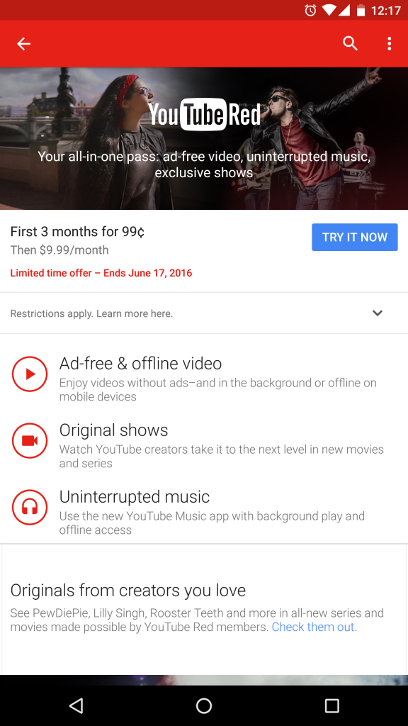 YouTube Red Offer