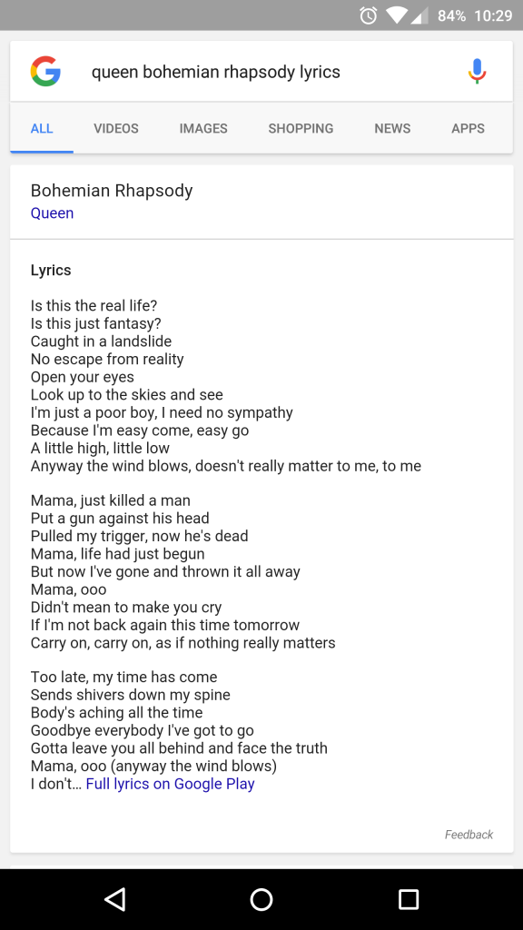 Lyric song and lyrics : Google Now will display song lyrics thanks to partnership with ...