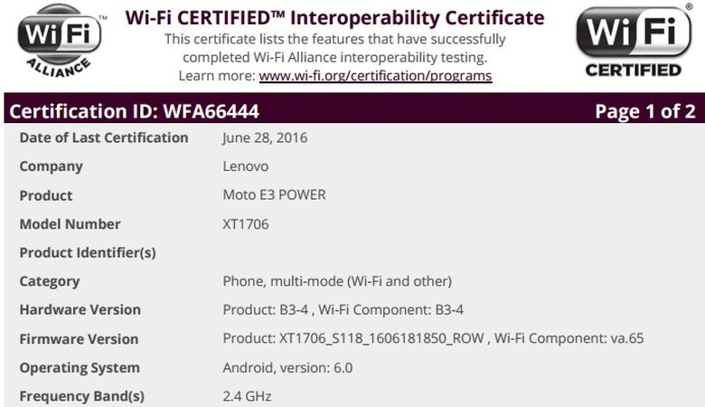 Moto E3 Power passes WiFi certification, Android 6.0 included