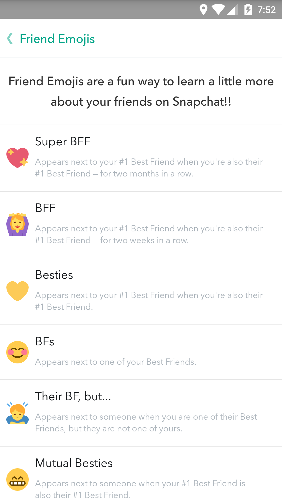 All snapchat symbol emoji score and trophy definitions phandroid should you decide youd like to swap one of the default friend emojis with another you can do so by following these steps buycottarizona Image collections