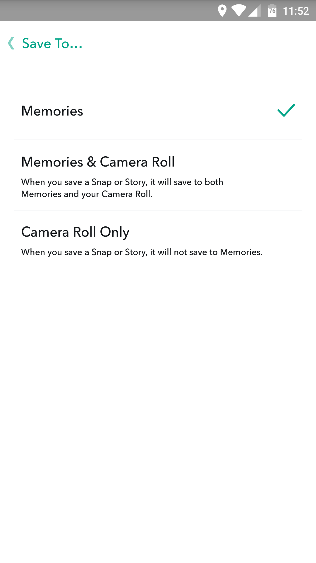 How to use snapchat memories download delete backup your customize memories using the available settings ccuart Choice Image