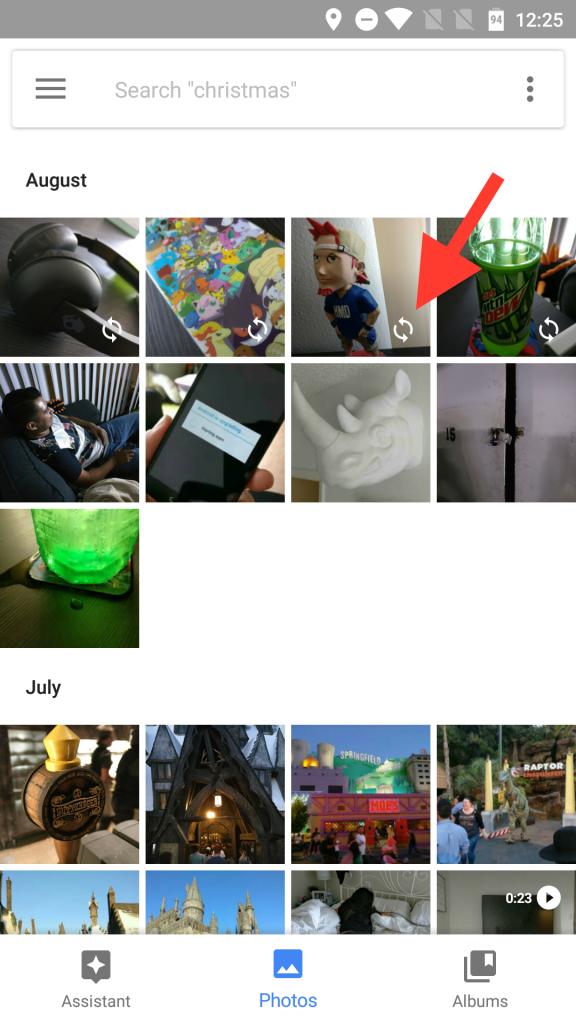 Google Photos backup refresh