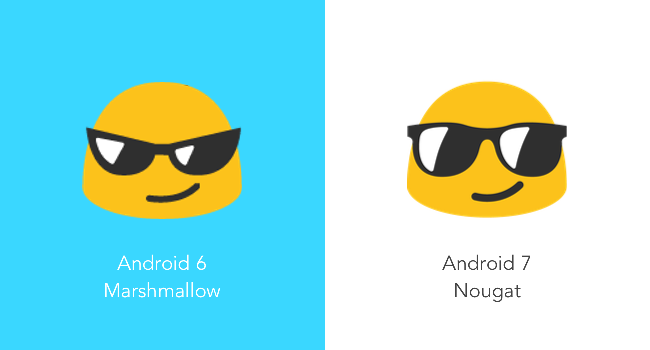 new emoji in android 7 0 nougat vs android 6 0 marshmallow