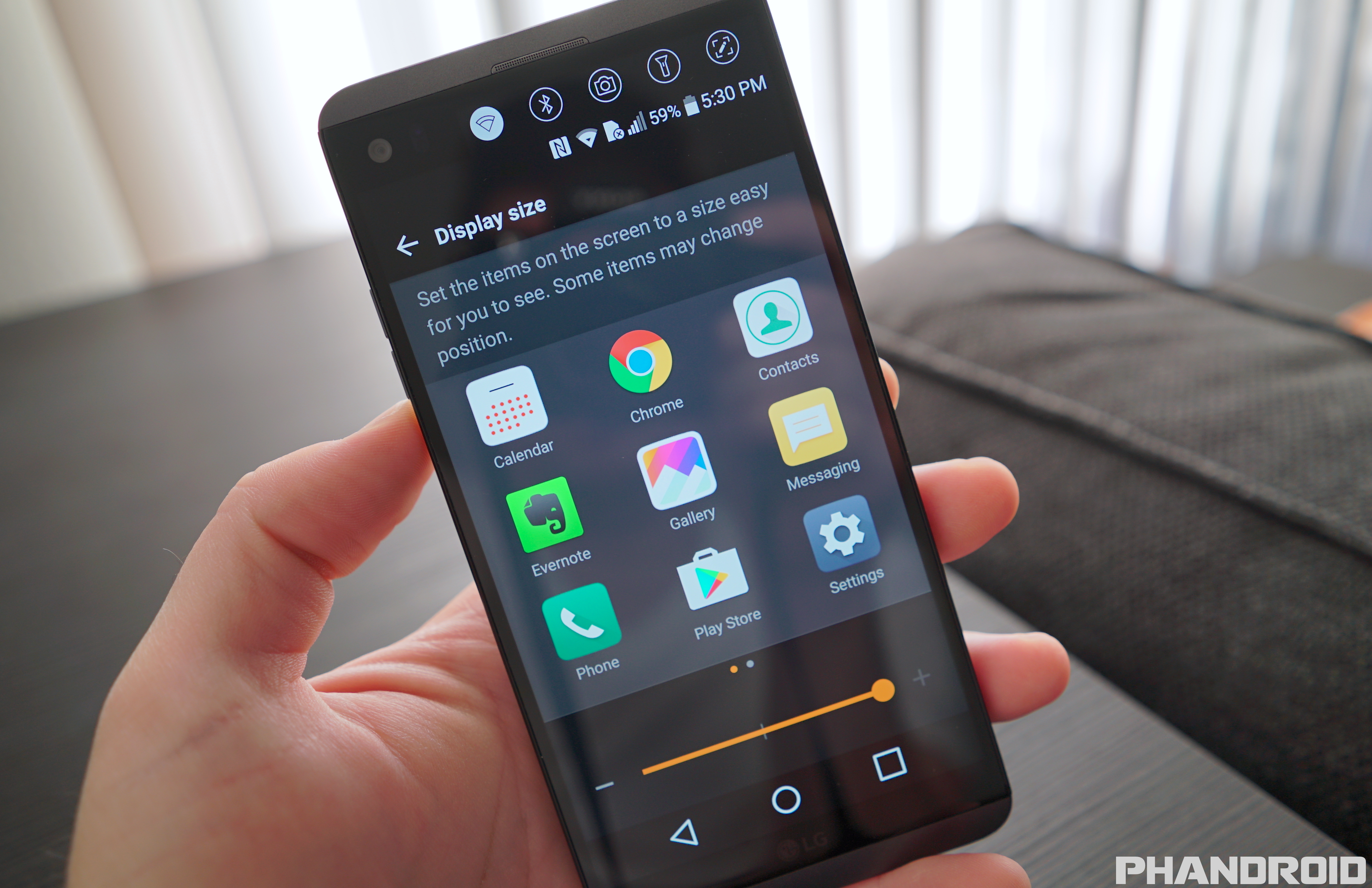 how to change display settings on lg k4