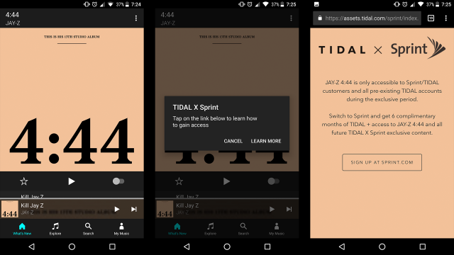 Listen to Jay-Z 4:44 without TIDAL X Sprint
