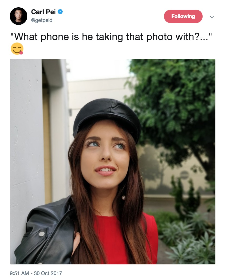 On this Twitter profile, Pei posted a photo of a young woman with the  caption \u201cWhat phone is he taking that photo with?\u2026\u201d It\u0027s obvious that the OnePlus  5T