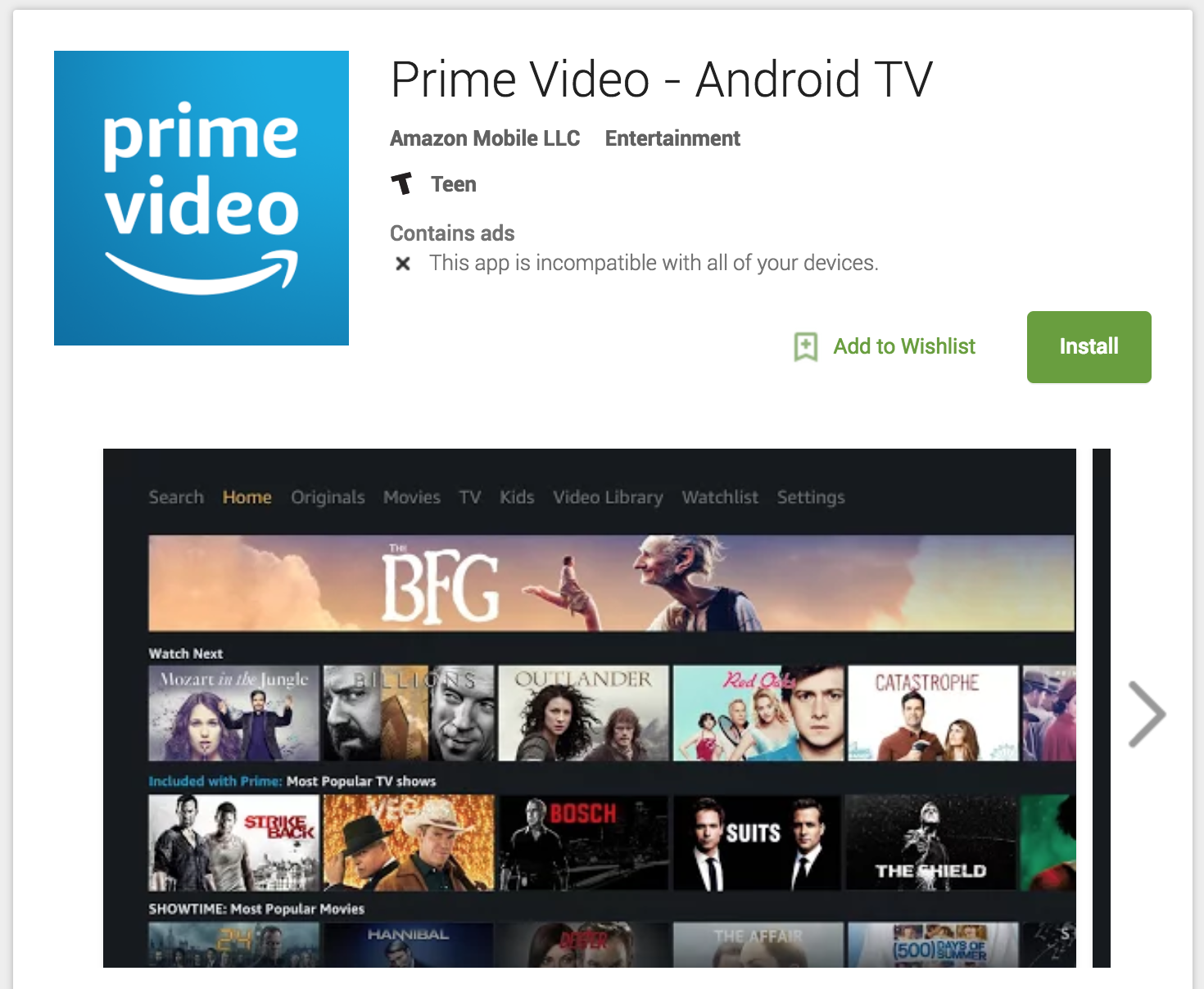 Amazon Prime Video comes to Android TV but you can't