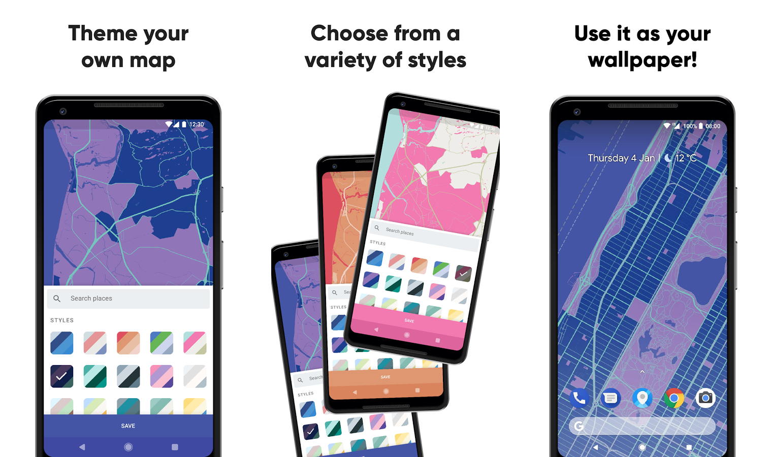 Mapapers is a wallpaper app that allows you to create a stylized version of maps. Simply navigate to anywhere on a map, pan, zoom, and tilt to get the ...